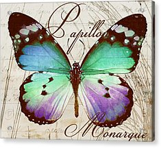 Papillon Blue Acrylic Print by Mindy Sommers
