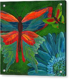 Papillon Vert - Green Butterfly Acrylic Print by Debbie McCulley