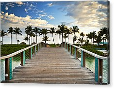 Paradise Beach Tropical Palm Trees Islands Summer Vacation Acrylic Print by Dave Allen