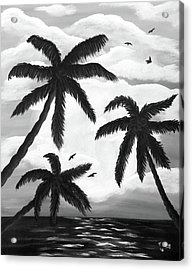 Acrylic Print featuring the painting Paradise In Black And White by Teresa Wing