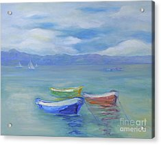 Acrylic Print featuring the painting Paradise Island Boats by Barbara Anna Knauf