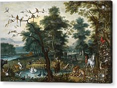 Paradise Landscape With The Fall Acrylic Print by Jan Brueghel the Younger