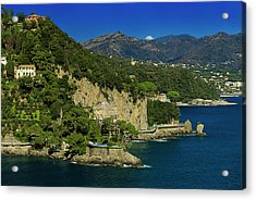 Acrylic Print featuring the photograph Paraggi Bay Castle And Liguria Mountains Portofino Park  by Enrico Pelos