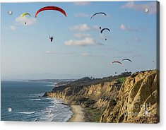Paragliders At Torrey Pines Gliderport Over Black's Beach Acrylic Print