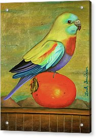 Acrylic Print featuring the painting Parakeet On A Persimmon by Leah Saulnier The Painting Maniac