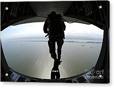 Pararescuemen Train On The Banana River Acrylic Print by Stocktrek Images