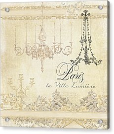 Parchment Paris - City Of Light Chandelier Candelabra Chalk Acrylic Print