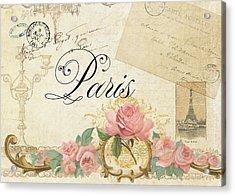 Parchment Paris - Timeless Romance Acrylic Print by Audrey Jeanne Roberts