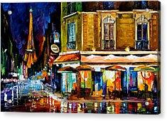 Paris - Recruitement Cafe Acrylic Print by Leonid Afremov