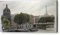 Paris Across The Seine Acrylic Print by Victoria Heryet