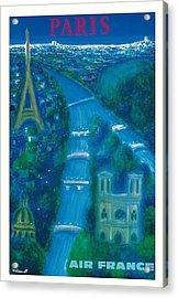 Paris Air France Vintage Travel Poster By Bernard Villemot Acrylic Print