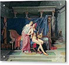 Paris And Helen Acrylic Print by Jacques Louis David
