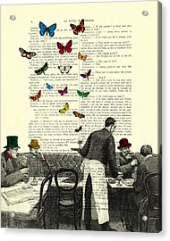 Inside Of A French Bistro At Paris And Rainbow Butterflies Acrylic Print