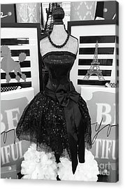 Acrylic Print featuring the photograph Paris Ballerina Costume Black And White French Decor - Parisian Ballet Art Black And White Art Deco by Kathy Fornal