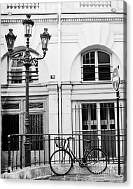 Acrylic Print featuring the photograph Paris Black And White Architecture Windows Street Lanterns Bicycle Print - Paris Street Lanterns by Kathy Fornal