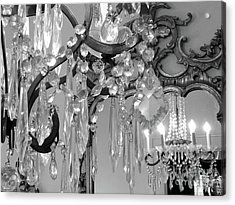 Acrylic Print featuring the photograph Paris Black And White Crystal Chandelier Mirrored Wall Decor -parisian Black White Chandelier Prints by Kathy Fornal