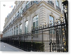 Acrylic Print featuring the photograph Paris Black Iron Ornate Gate To Parc Monceau - Parisian Gates  by Kathy Fornal