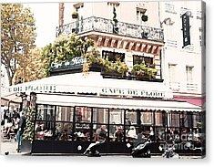 Paris Cafe De Flore Famous Landmark - Paris Street Cafe Restaurant  Acrylic Print by Kathy Fornal