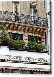 Paris Cafe De Flore - Paris Cafe Restaurant - Famous Paris Cafe Restaurant Acrylic Print by Kathy Fornal