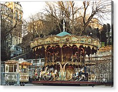 Paris Carousel At Montmartre - Sacre Coeur Cathedral Carousel Merry Go Round  Acrylic Print by Kathy Fornal