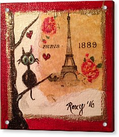 Paris Cat  Acrylic Print by Roxy Rich