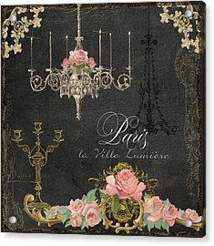 Paris - City Of Light Chandelier Candelabra Chalk Roses Acrylic Print