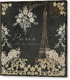 Paris - City Of Love Eiffel Tower Chalk Acrylic Print by Audrey Jeanne Roberts