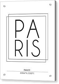 Paris City Print With Coordinates Acrylic Print