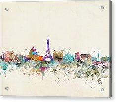 Paris City Skylline Acrylic Print