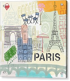 Paris Cityscape- Art By Linda Woods Acrylic Print