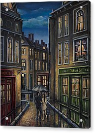 Paris Couple At Night Street Scene Acrylic Print
