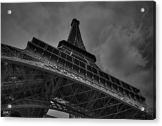 Acrylic Print featuring the photograph Paris - Eiffel Tower 001 Bw by Lance Vaughn