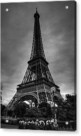 Acrylic Print featuring the photograph Paris - Eiffel Tower 004 Bw by Lance Vaughn