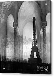 Paris Eiffel Tower Architecture Black And White Fine Art Photography Acrylic Print by Kathy Fornal