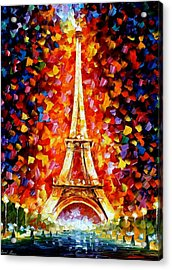 Paris - Eiffel Tower Lighted Acrylic Print