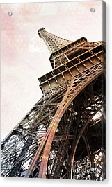 Paris Eiffel Tower Painterly Sepia Abstract - Eiffel Tower Sepia Vintage Art Decor And Prints Acrylic Print by Kathy Fornal