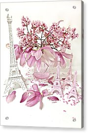 Acrylic Print featuring the photograph Paris Eiffel Tower Spring Magnolia Flower Blossoms - Paris Pink White Spring Blossoms  by Kathy Fornal