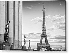 Paris Eiffel Tower Trocadero Monochrome Acrylic Print by Melanie Viola