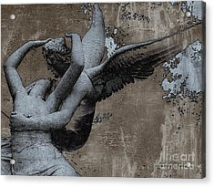 Paris Eros And Psyche - Surreal Romantic Angel Louvre   - Eros And Psyche - Cupid And Psyche Acrylic Print by Kathy Fornal