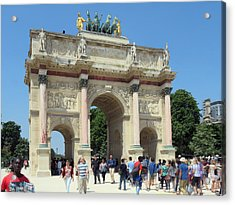 Paris France Small Triumphal Arch At The Louvre 2 Acrylic Print by Richard Singleton