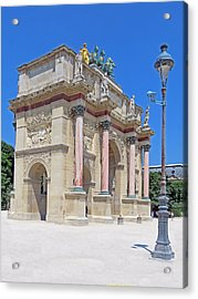 Paris France Small Triumphal Arch At The Louvre Acrylic Print by Richard Singleton