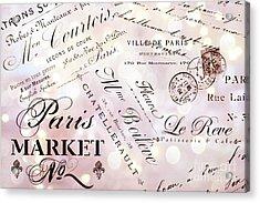 Paris French Script Wall Decor - French Script Letters Typography - Paris French Script Wall Decor Acrylic Print