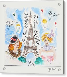 Paris Girls Acrylic Print by John Keaton