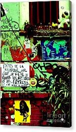 Paris Graffiti Acrylic Print by Louise Fahy