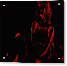 Paris Hilton Red Acrylic Print by Brian Reaves