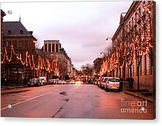 Paris Holiday Christmas Street Scene - Christmas In Paris Acrylic Print by Kathy Fornal