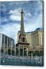 Paris Hotel And Bellagio Fountains Acrylic Print