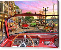 Paris In A Car Acrylic Print by Dominic Davison
