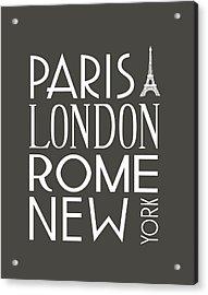 Acrylic Print featuring the digital art Paris, London, Rome And New York Pillow by Jaime Friedman