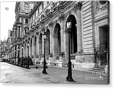 Paris Louvre Black And White Architecture - Louvre Lantern Lights Acrylic Print by Kathy Fornal